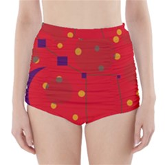 Red Abstract Sky High Waisted Bikini Bottoms