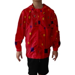 Red abstract sky Hooded Wind Breaker (Kids)