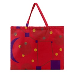 Red abstract sky Zipper Large Tote Bag