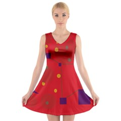 Red abstract sky V-Neck Sleeveless Skater Dress
