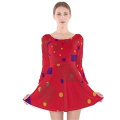 Red abstract sky Long Sleeve Velvet Skater Dress