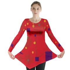 Red abstract sky Long Sleeve Tunic