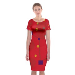 Red Abstract Sky Classic Short Sleeve Midi Dress