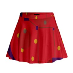 Red Abstract Sky Mini Flare Skirt