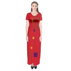 Red Abstract Sky Short Sleeve Maxi Dress