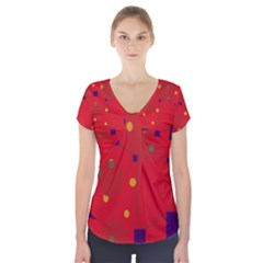 Red Abstract Sky Short Sleeve Front Detail Top