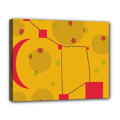 Yellow abstract sky Canvas 14  x 11