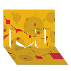 Yellow abstract sky I Love You 3D Greeting Card (7x5)