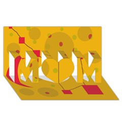 Yellow abstract sky MOM 3D Greeting Card (8x4)