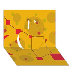 Yellow Abstract Sky Apple 3d Greeting Card (7x5)