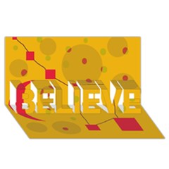 Yellow abstract sky BELIEVE 3D Greeting Card (8x4)