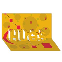Yellow abstract sky HUGS 3D Greeting Card (8x4)