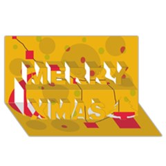 Yellow abstract sky Merry Xmas 3D Greeting Card (8x4)