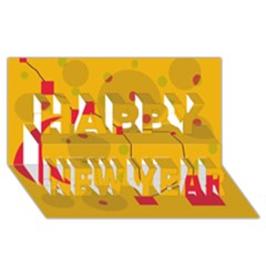 Yellow abstract sky Happy New Year 3D Greeting Card (8x4)