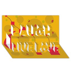 Yellow Abstract Sky Laugh Live Love 3d Greeting Card (8x4)
