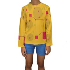 Yellow abstract sky Kid s Long Sleeve Swimwear