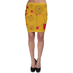 Yellow abstract sky Bodycon Skirt