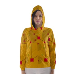 Yellow abstract sky Hooded Wind Breaker (Women)