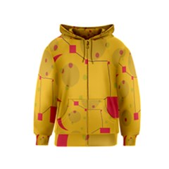 Yellow abstract sky Kids  Zipper Hoodie