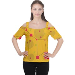 Yellow abstract sky Women s Cutout Shoulder Tee