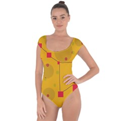 Yellow abstract sky Short Sleeve Leotard