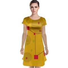 Yellow abstract sky Cap Sleeve Nightdress