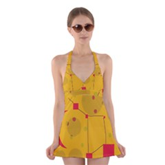 Yellow abstract sky Halter Swimsuit Dress