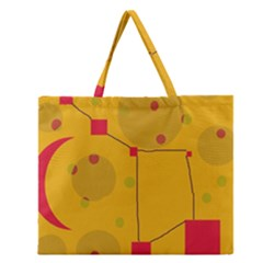 Yellow abstract sky Zipper Large Tote Bag
