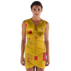 Yellow abstract sky Wrap Front Bodycon Dress