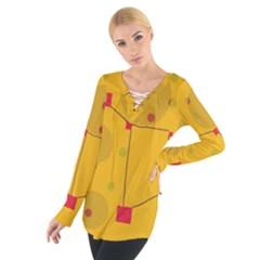 Yellow abstract sky Women s Tie Up Tee