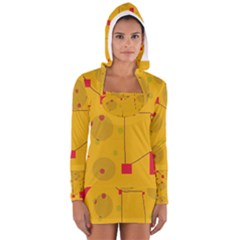 Yellow abstract sky Women s Long Sleeve Hooded T-shirt
