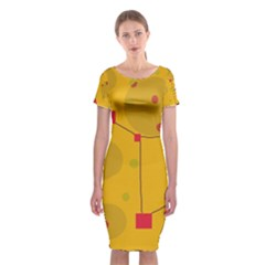Yellow Abstract Sky Classic Short Sleeve Midi Dress