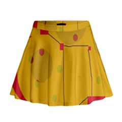 Yellow Abstract Sky Mini Flare Skirt