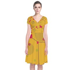 Yellow abstract sky Short Sleeve Front Wrap Dress