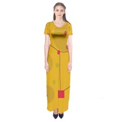 Yellow Abstract Sky Short Sleeve Maxi Dress