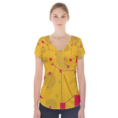 Yellow Abstract Sky Short Sleeve Front Detail Top