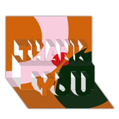 Decorative abstraction  THANK YOU 3D Greeting Card (7x5)