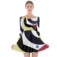 Digital abstraction Long Sleeve Skater Dress