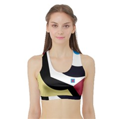 Digital abstraction Sports Bra with Border