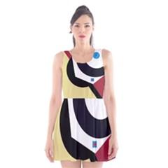 Digital Abstraction Scoop Neck Skater Dress