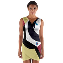 Digital abstraction Wrap Front Bodycon Dress