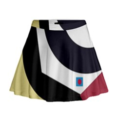 Digital abstraction Mini Flare Skirt