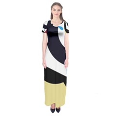 Digital Abstraction Short Sleeve Maxi Dress