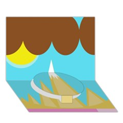 Abstract landscape  Circle Bottom 3D Greeting Card (7x5)