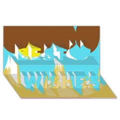 Abstract landscape  Best Wish 3D Greeting Card (8x4)