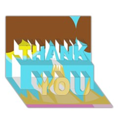 Abstract landscape  THANK YOU 3D Greeting Card (7x5)