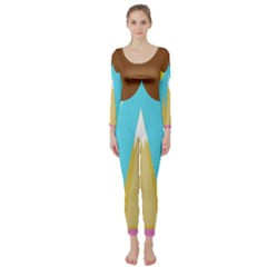 Abstract landscape  Long Sleeve Catsuit