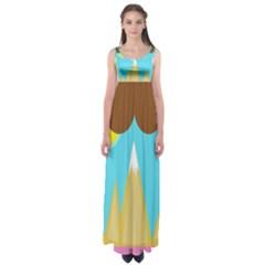 Abstract Landscape  Empire Waist Maxi Dress