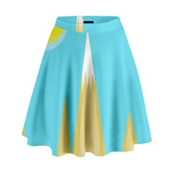 Abstract Landscape  High Waist Skirt
