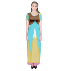 Abstract Landscape  Short Sleeve Maxi Dress